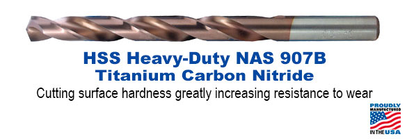 High Speed Steel Heavy-Duty NAS 907B Titanium Carbon Nitride